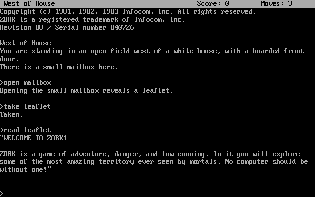 Thumbnail / Media File 1 for Zork I - The Great Underground Empire