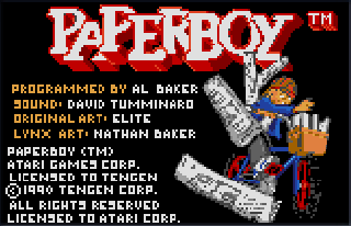 Screenshot Thumbnail / Media File 1 for Paperboy (USA, Europe)